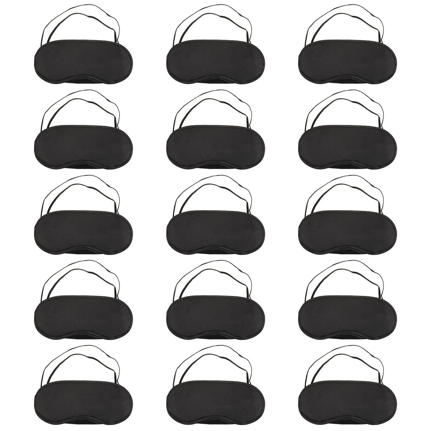 15 Pack Eye Mask Sleeping Blindfold Soft Eye Shade Cover with Nose Pad and Adjustable Strap for Travel Sleep, Black Hicarer