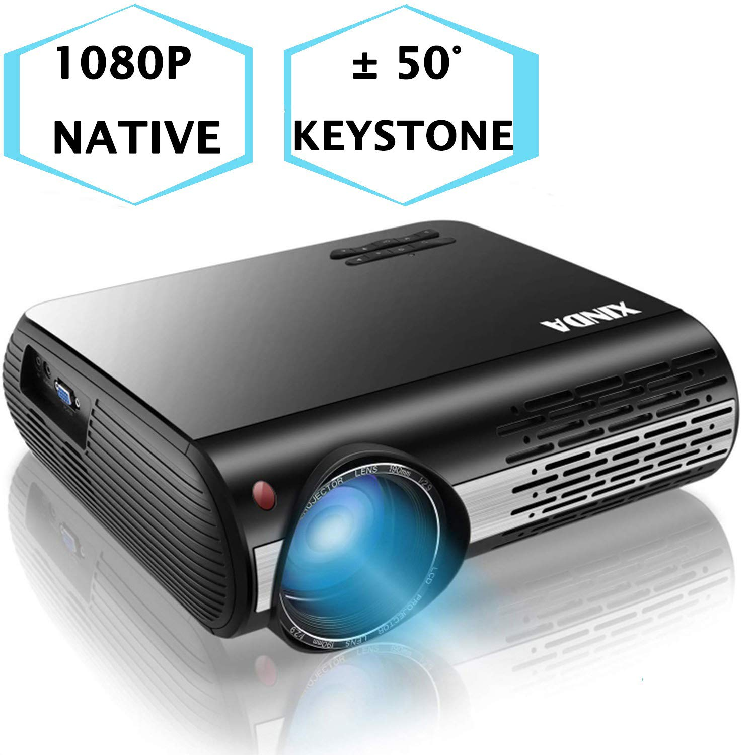 1080P Projector,XINDA 5000 Lux Native HD 1080P Projector with 327'' Display,4D Home Theater Projector with Builtting in 5W Speaker,Home& Business Projector for Fire TV Stick,Smartphone,PC,Box,PS4,2HDMI