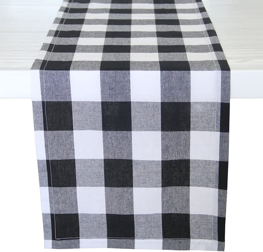 """ARKSU Christmas Table Runner Plaid Polyester-Cotton Blend for Dinner Table Indoor or Outdoor Parties Home Decor, Black and White, 12"""" x 72"""""""