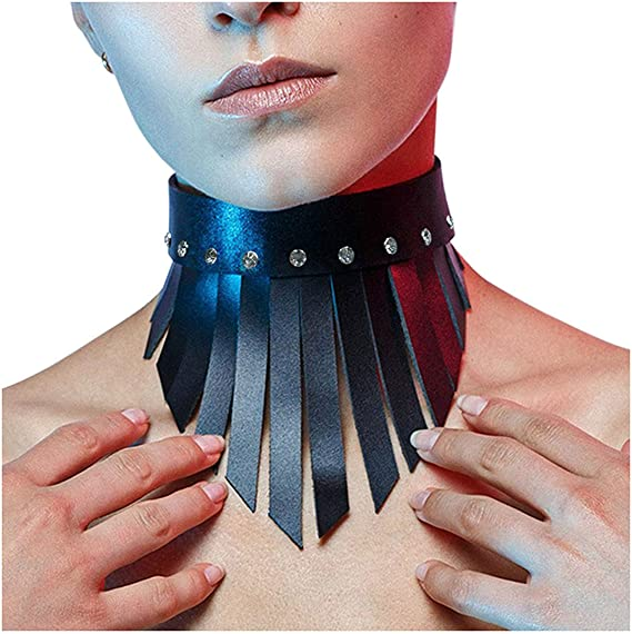 Homelex Punk Leather Choker Necklace Gothic Black O-Ring Collar For Girls Women