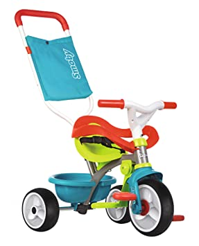 Smoby Be Be Move Baby Trike with Parent Handle | My First Toddler Tricycle,  Easy to Assemble | Blue