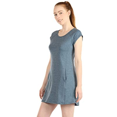 icyzone Open Back T-Shirt Dresses for Women - Short Sleeve Tunic Casual Mini Dress with Pockets at Women's Clothing store