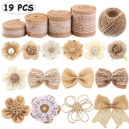 d01471313b356 19 Piece Natural Burlap Bow Flowers Set Handmade Antique Rose Bow DIY Craft  Bouquet Home Wedding Christmas Party Decoration