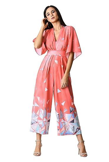 f7dd94f79bd6 eShakti Women's Pleated graphic print crepe jumpsuit UK Size 04 / Regular  height Coral lily multi