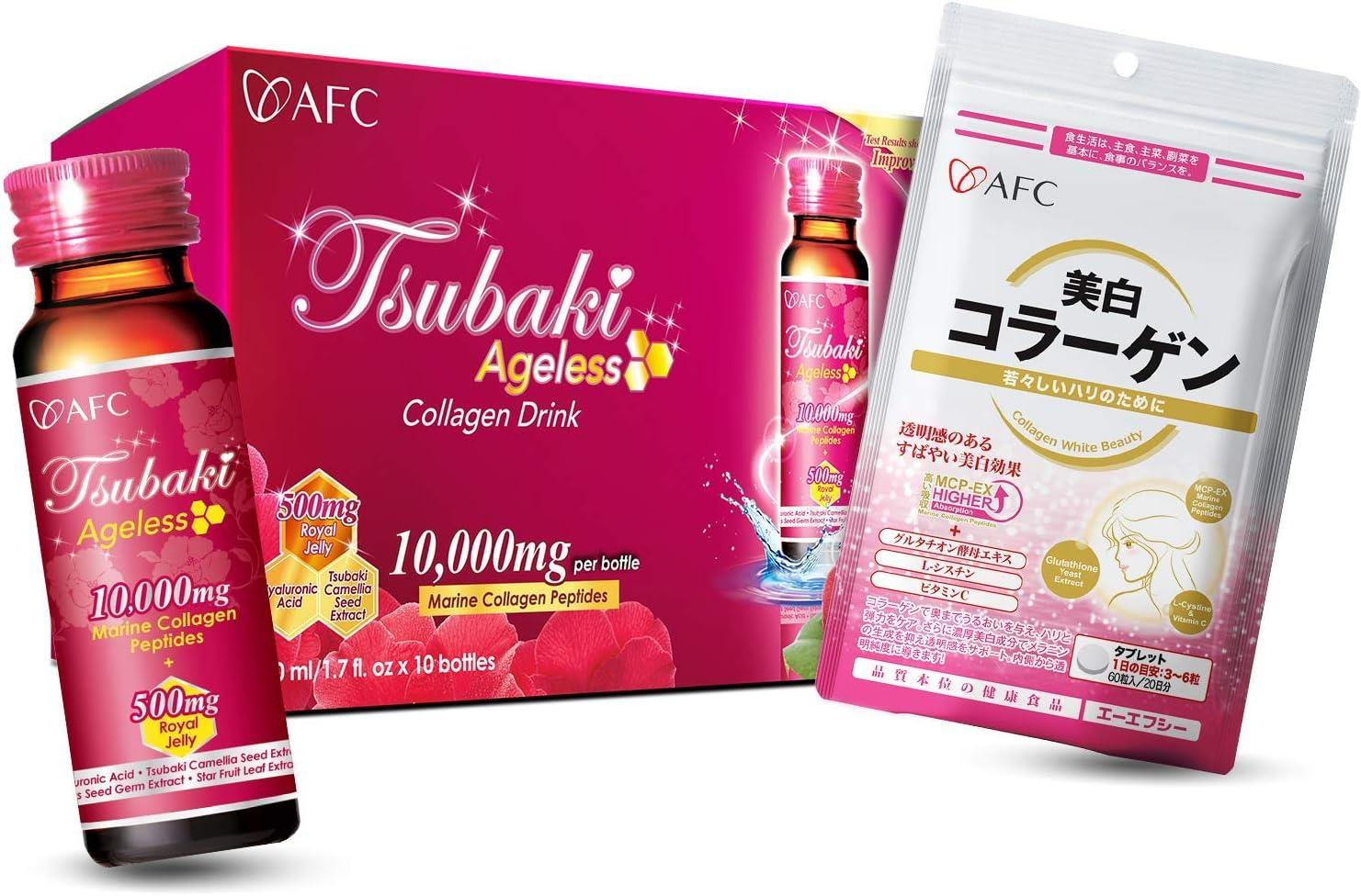 AFC Japan Tsubaki Ageless Beauty Collagen Drink + Collagen White Beauty, Marine Collagen Peptide, Royal Jelly, Hyaluronic Acid, Glutathione, for Skin Revitalization, Firmness & Whitening