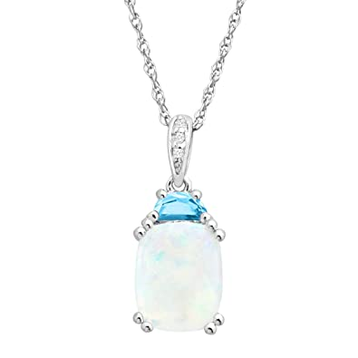 Amazon 2 16 natural opal blue topaz pendant with diamonds in 2 16 natural opal blue topaz pendant with diamonds in sterling silver aloadofball Images