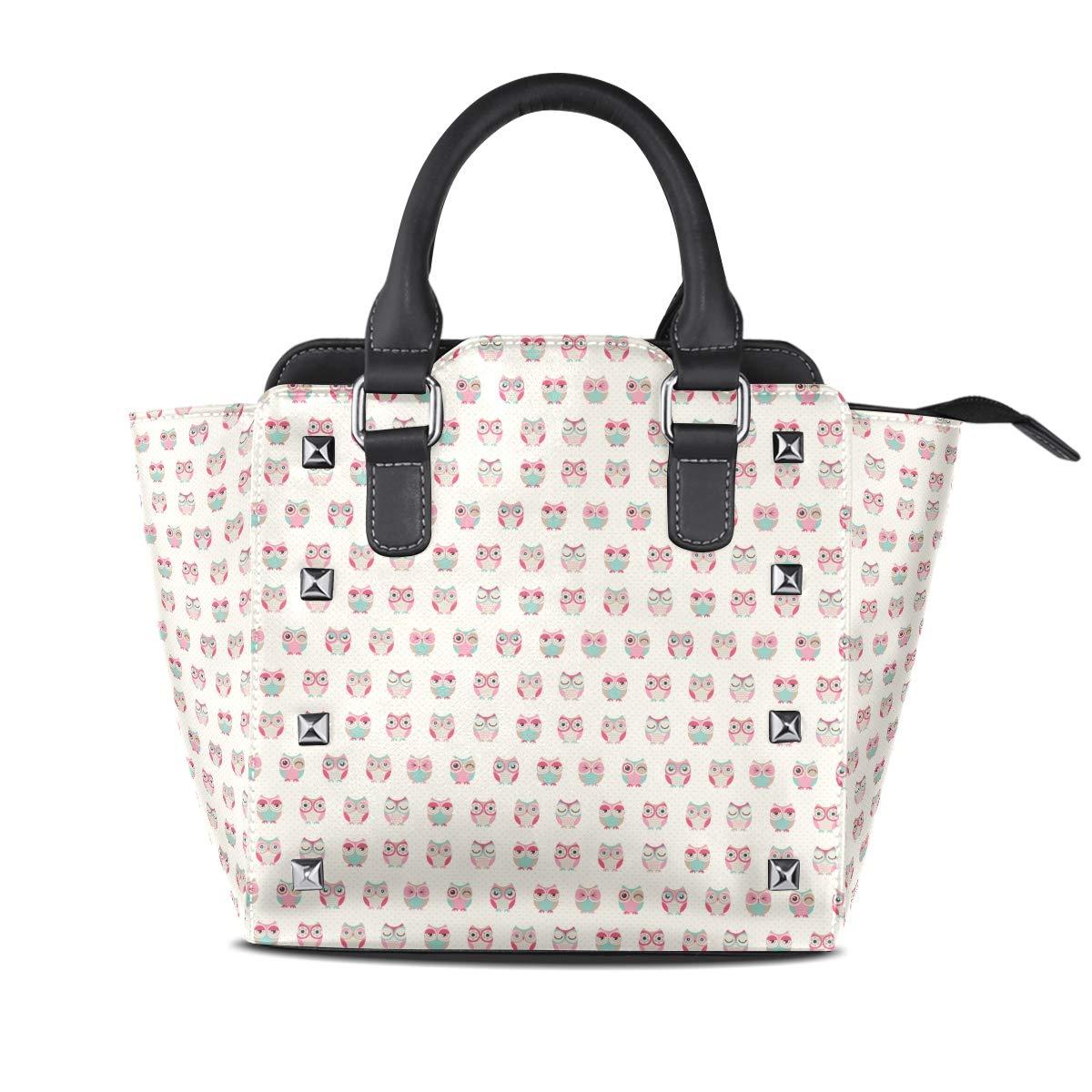 Design5 Handbag Cheetah Genuine Leather Tote Rivet Bag Shoulder Strap Top Handle Women