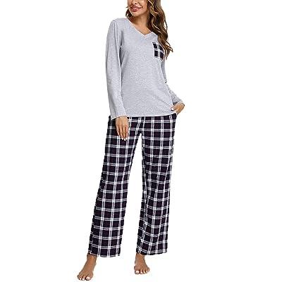 100/% Cotton Women Pajamas Set Long Sleeve Sleepwear V-Neck Pyjamas Nightwear