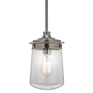 Kira Home Mason 10.5 Industrial Pendant Light, Seeded Glass Shade Brushed Nickel Finish
