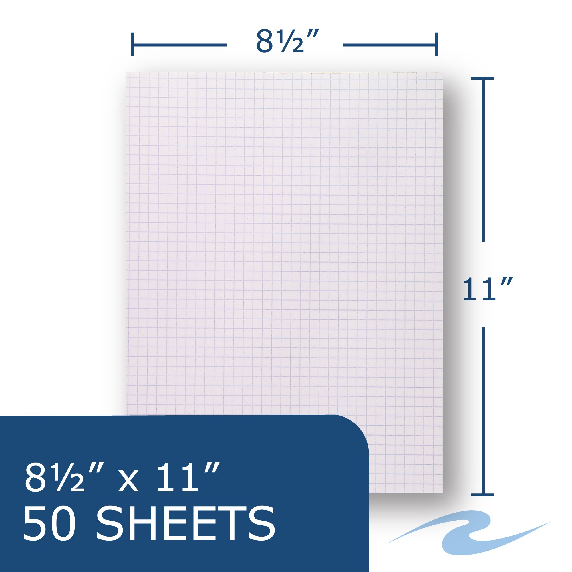 Case of 72 Gummed Pads, 8.5''x11'', 50 sheets 15# White Paper Per Pad, 12 Pads Per pack, 3-Hole Punched, glued, 4x4 graph Ruled by Roaring Spring (Image #3)