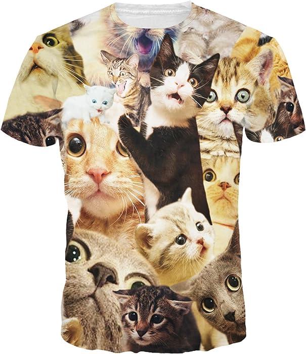 Camisa Fresca De Los Gatos del Amor 3D Hombres Adelgazan La Camiseta Gráfica para La Novia