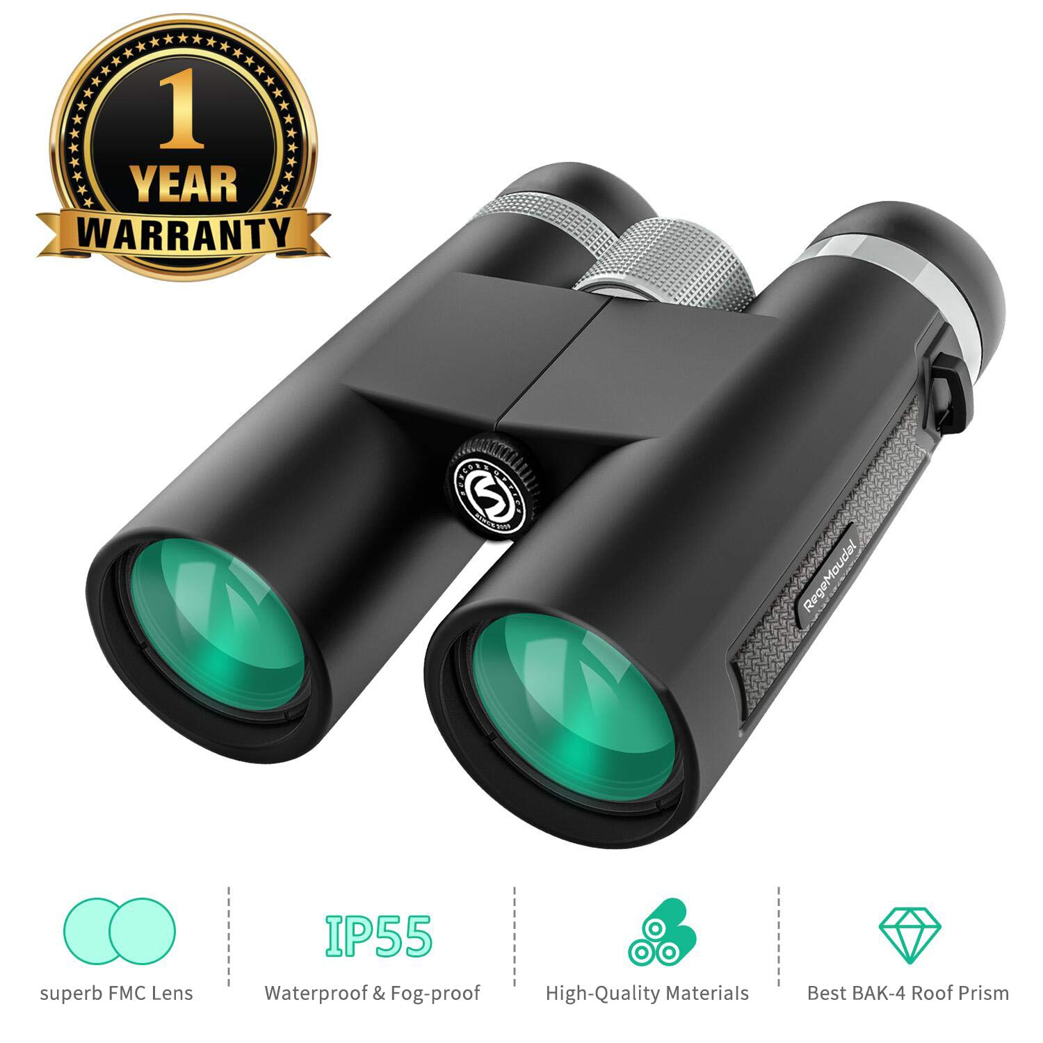 RegeMoudal 12x42 HD Binoculars for Adults, Waterproof Compact Binoculars with Clear Weak Light Vision, Suitable for Bird Watching Hunting Traveling - Prism Bak4 FMC Lens with Smartphone Adapter by RegeMoudal