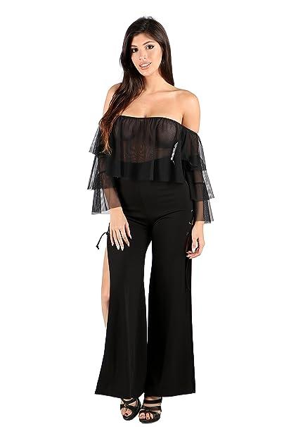 665c6afce983 Womens Off Shoulder Sheer Chiffon Ruffle Design Lace-up Wide Slit Legs  Fashion Jumpsuit (
