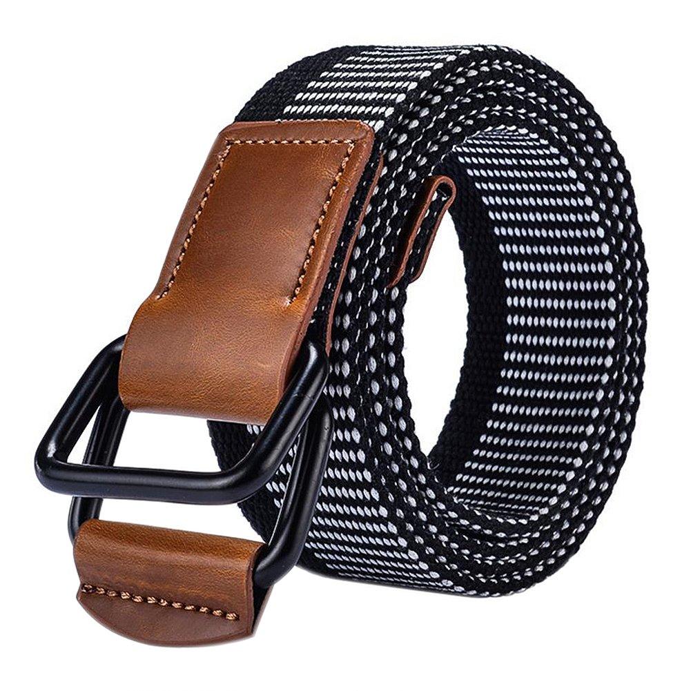 Leisial Cintur/ón de Lona Hombre Hebilla Doble Ocasional Cinta Trenzada Cinturones Hebilla de Metal Deporte al Aire para Hombre Mujer