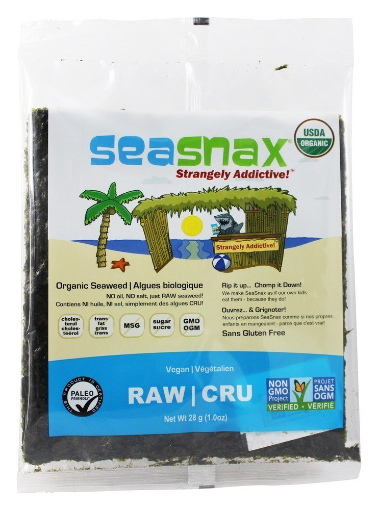 SeaSnax Raw Raw Raw Unroasted Seaweed -- 10 Sheets