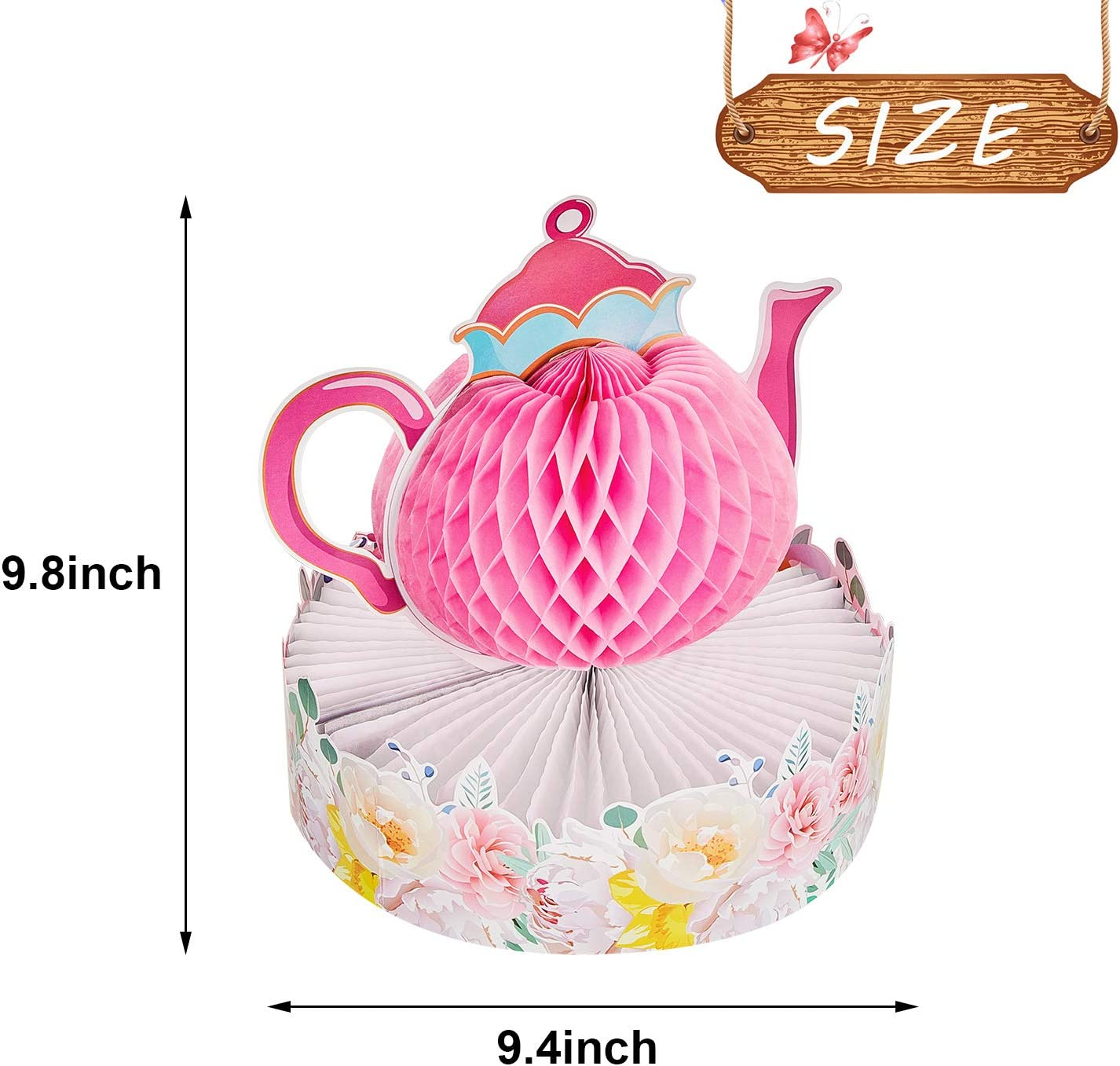 2 Pieces WILLBOND Floral Tea Party Centerpiece Princess Party Decorations Floral Tea Table Decorations Teapot Honeycomb Centerpiece for Floral Tea Themed Party Birthday Baby Shower Supplies