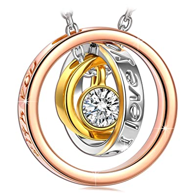 38015e775ac6 Kami Idea Women Trinity Princess Necklace Mum I Love You Engraved Rose Gold  Plated Pendant Jewellery with Swarovski Crystals Gifts for Christmas  Birthday ...