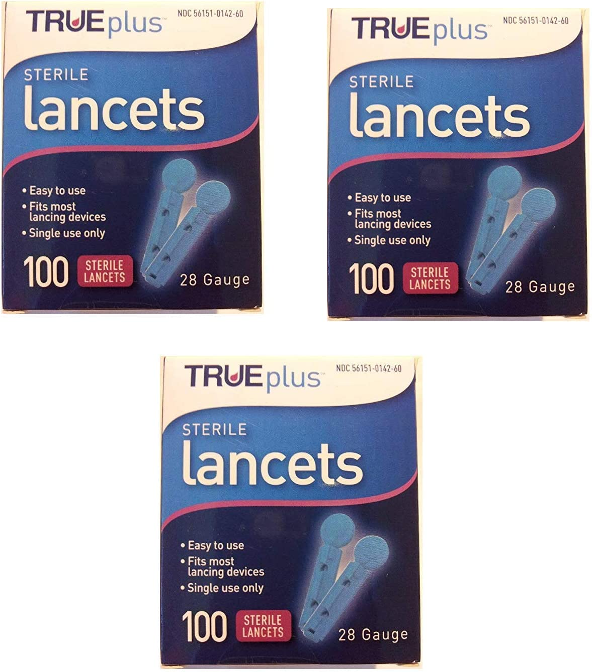 TruePlus Sterile Lancets, 28 Guage, 3 Boxes of 100 (300 Total): Health & Personal Care