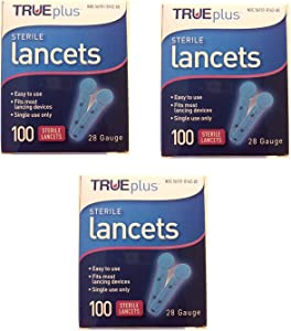 TruePlus Sterile Lancets, 28 Guage, 3 Boxes of 100 (300 Total)