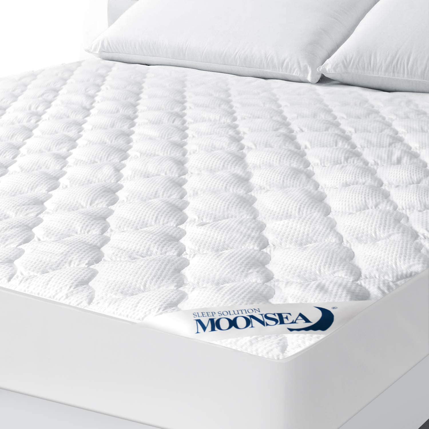 Queen Mattress Pad Thick Quilted Mattress Topper Cover, Super Soft Breathable and Noiseless Down Alternative Fiber Pillow Top Mattress Pad with Deep Pocket Fits Up to 8-18 Inch Mattress