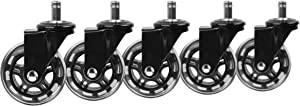 Slipstick CB690 Protecting Rubber Office Chair Wheels (Set of 5) Safe Rolling on All Flooring – Universal Fit Rollerblade Style Replacement Casters, Black