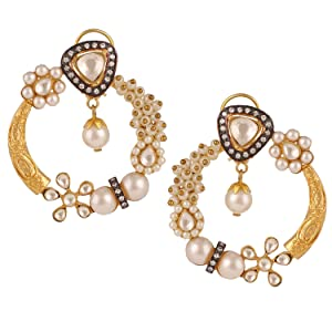 Swasti Jewels Bollywood Style Gold Plated and Pearls Chand Bali Earrings for Women