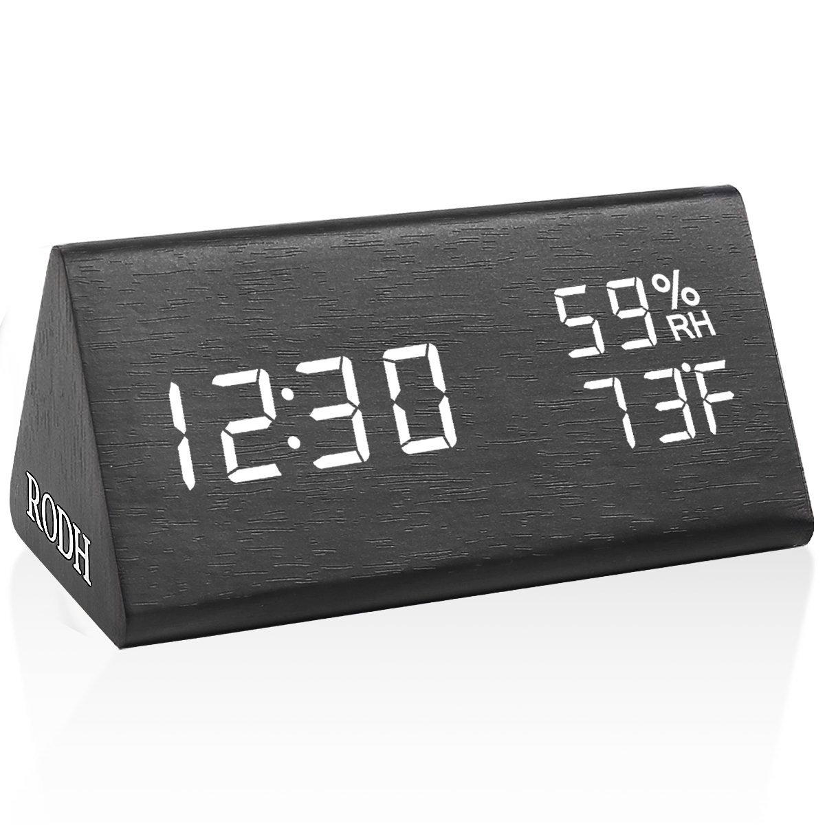 RODH Digital Wood Alarm Clock Wooden Led Light Minimalist Large Display with Humidity Temperature for Bedroom - Black