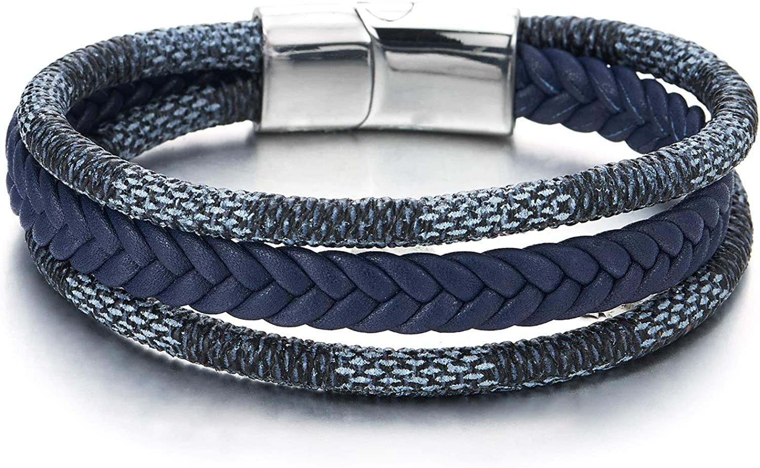 COOLSTEELANDBEYOND Men Women Three-Strand Navy Blue Braided Leather Cotton Rope Bracelet Wristband Steel Magnetic Clasp