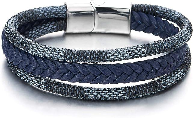Unisexe Femmes Hommes Tressé Acier Cuir fermoir magnétique bracelet handmade