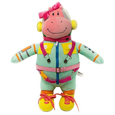 Wekom Hippomottie Learn To Dress Basic Skills Toy. Space Hippo Pink Girl Design.