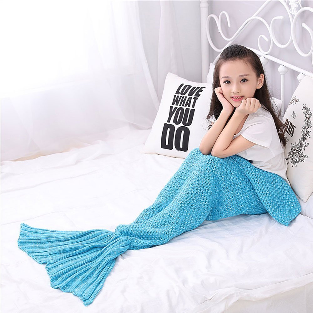HENNISON Knitted Handmade Mermaid Tail Blanket finish Living Room Blanket for Adults and Girls Kids