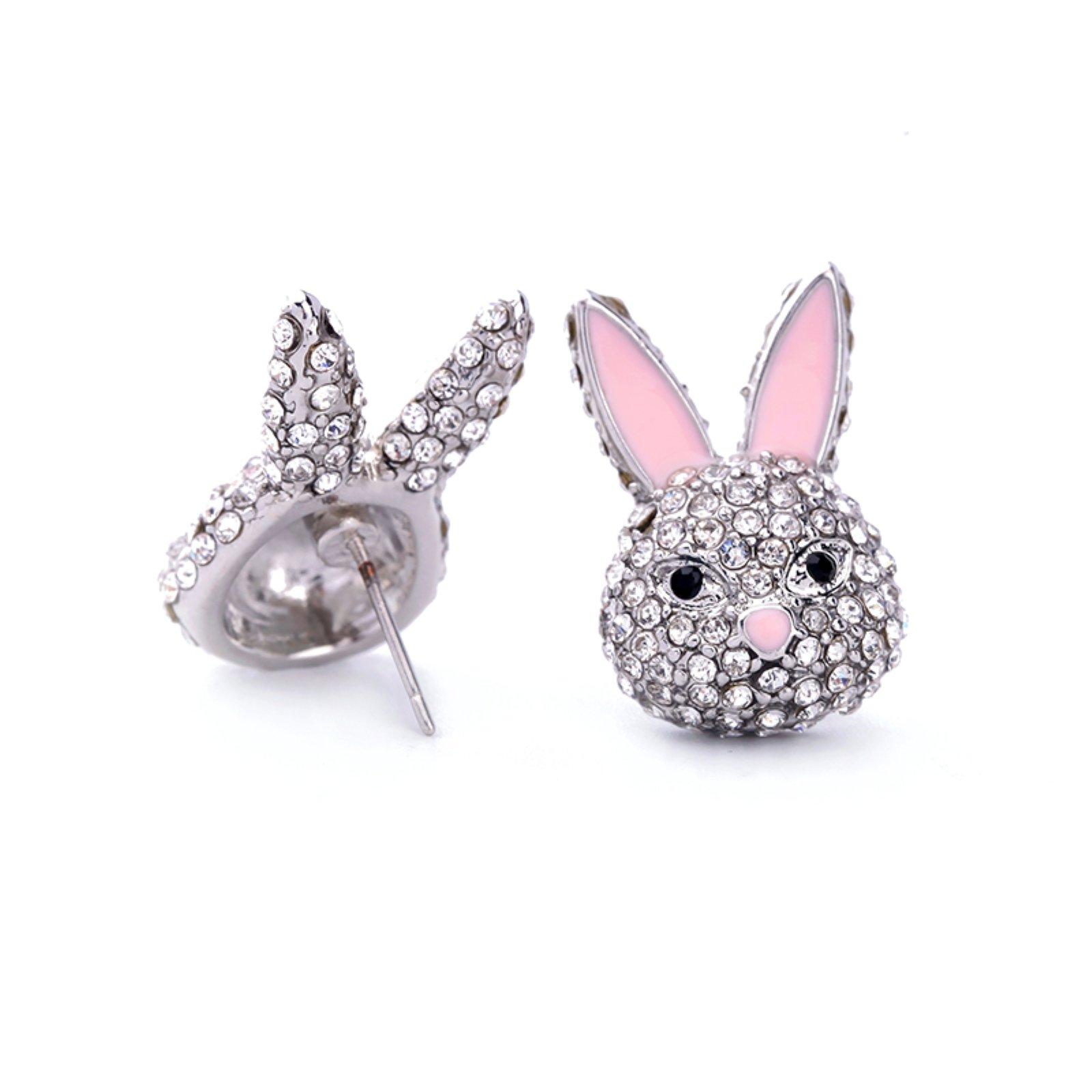 ptk12 Cute Crystal Pink Enamel Pompon Rabbit Earrings for Women Fashion Double Side Animal Earrings Jewelry Accessories