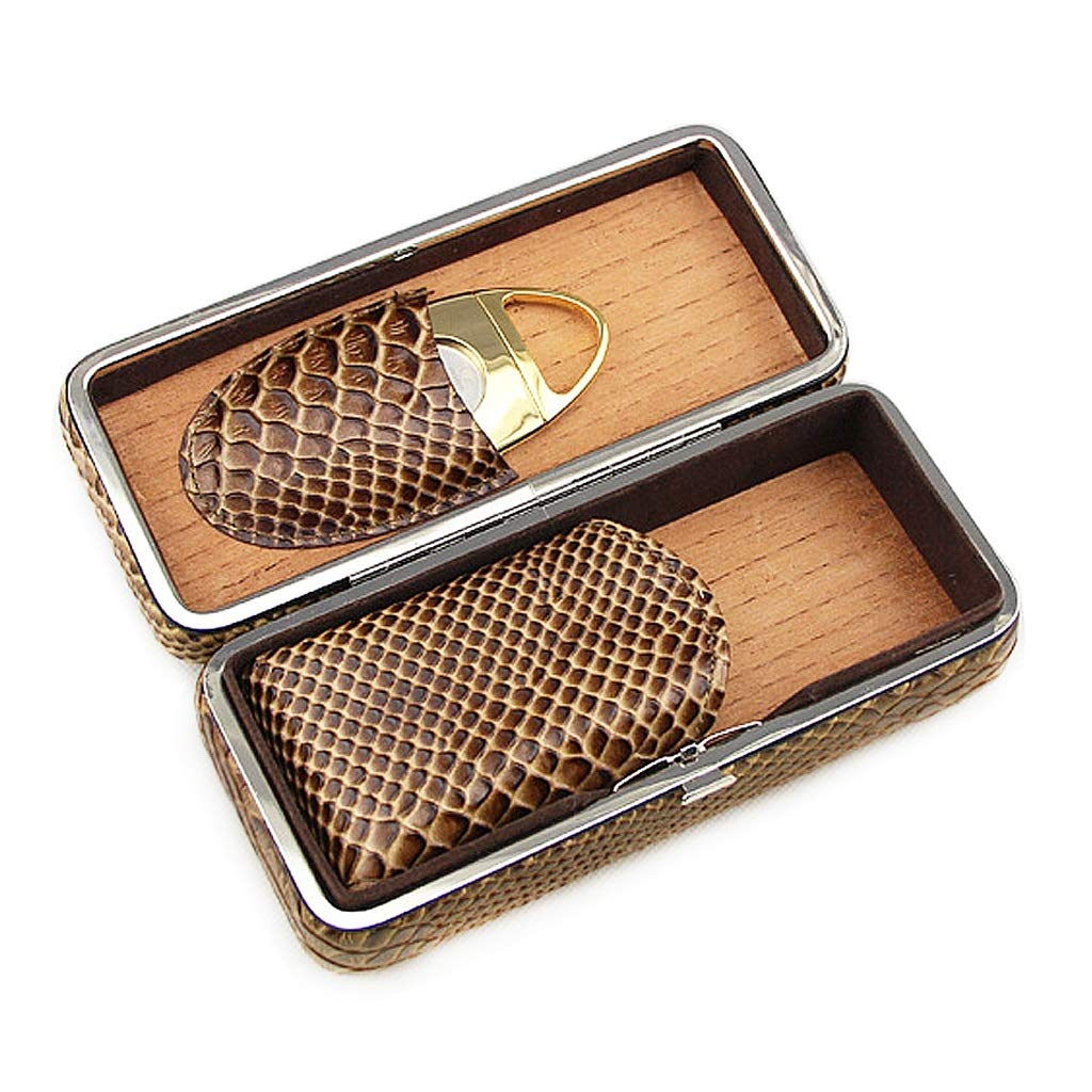 Cigar Holster Cigarette Cigar Box, Can Hold 3 Cigars, Cedar Wood Lined with Leather with Cigar Scissors, Travel Portable Cigarette Box, Thickened Men's Gift Box