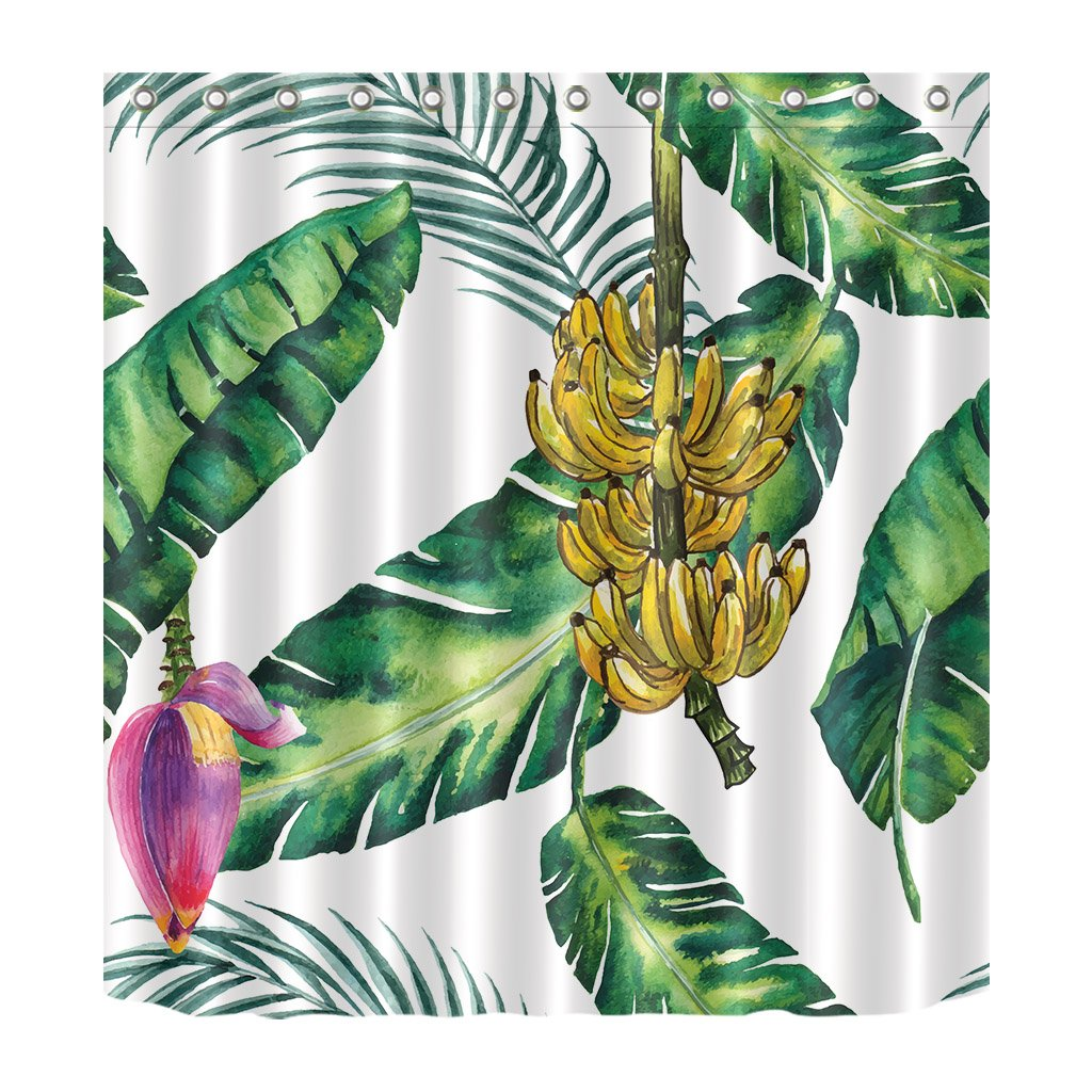LB South America Tropical Green Plant Palm Banana Leaves Decoration Shower Curtain Polyester Fabric 3D 72x72 Mildew Resistant Waterproof Yellow Bunch Bananas Pink Flower Bathroom Bath Curtains