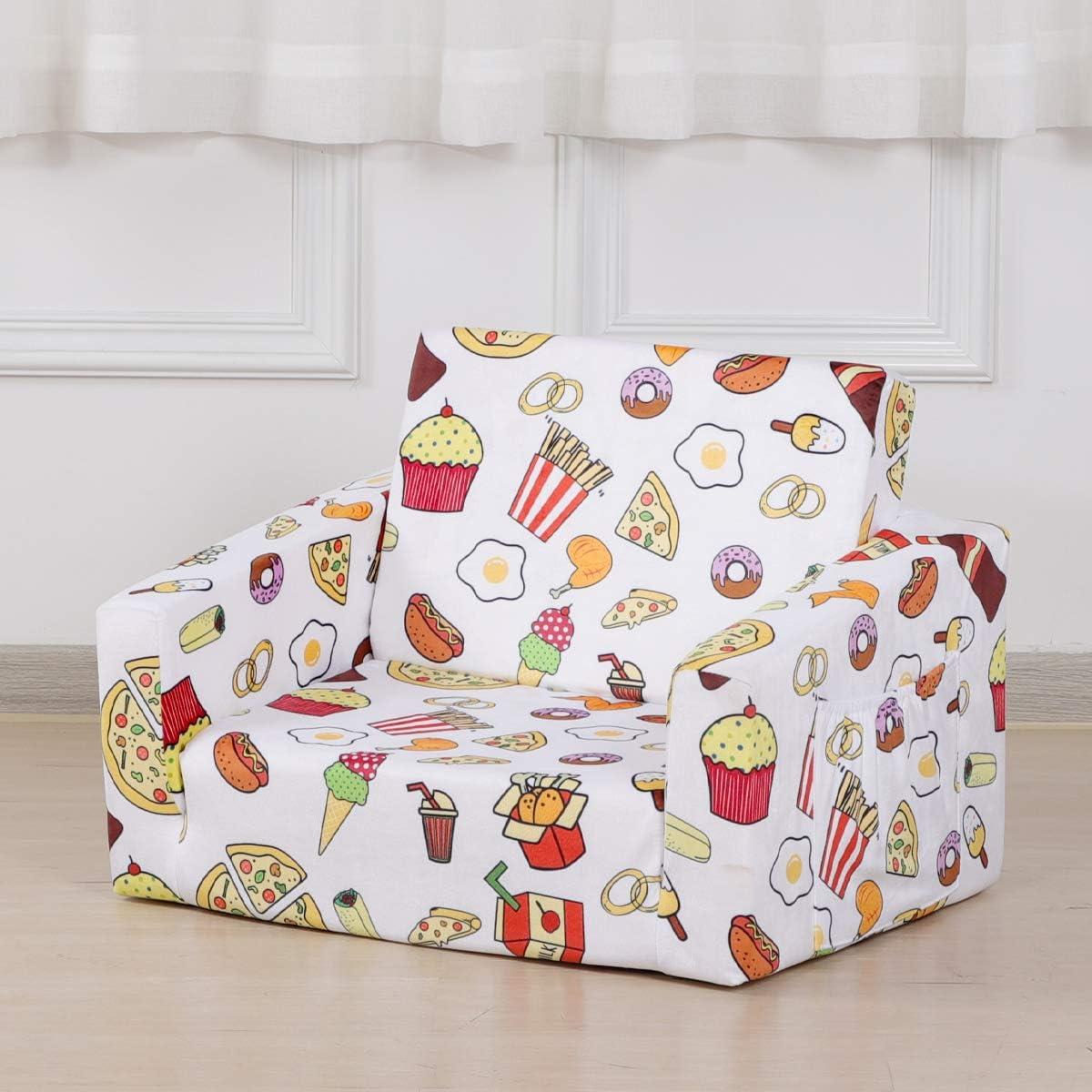 Kid Sofa Chair, Velvet Children's 2 in 1 Flip Open Foam Sofa Bed for Kid Nap and Play (White)