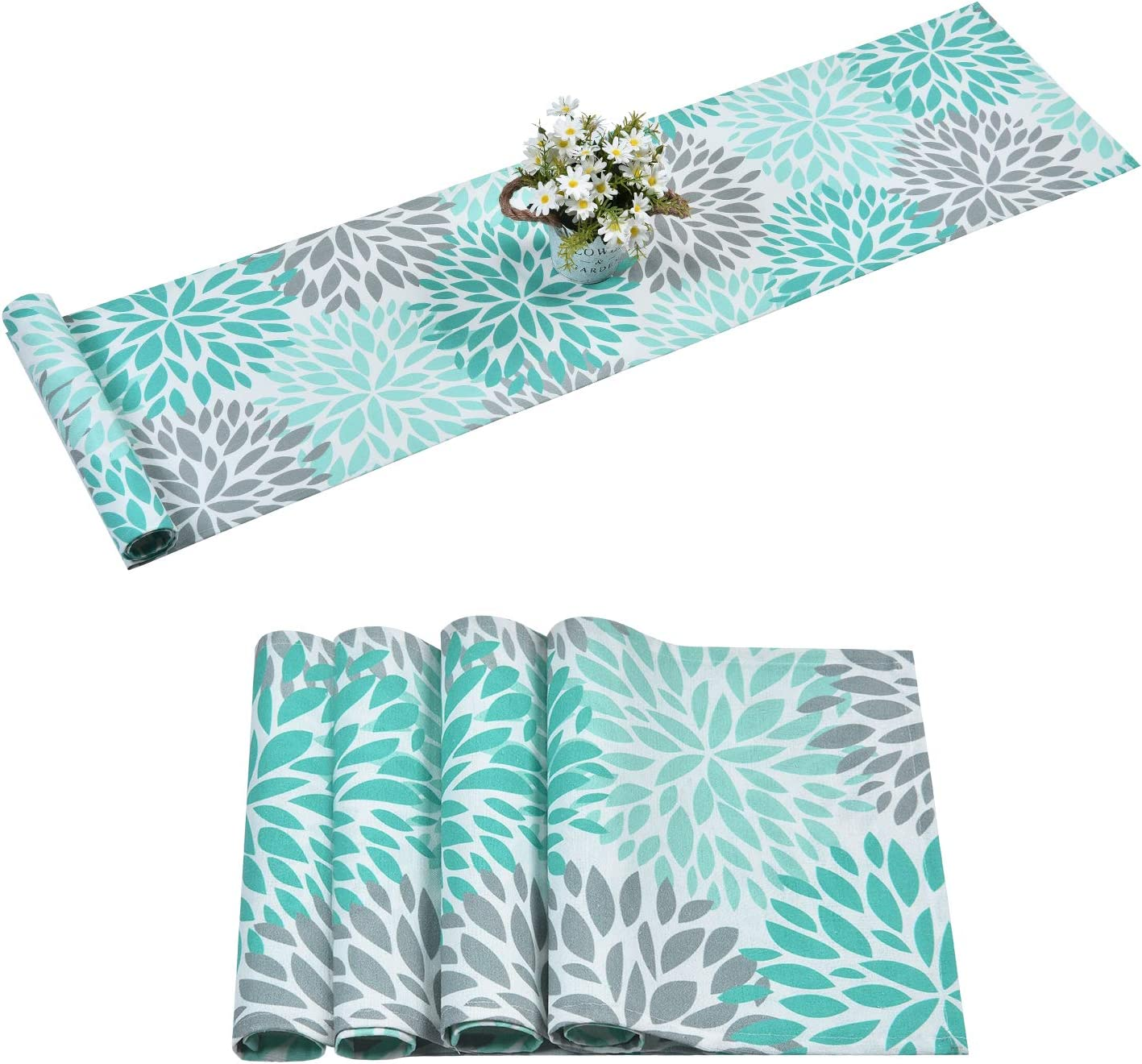 Alishomtll Dahlia Pinnata Table Runner with 4 Placemats Green Gray Print Flower Table Runners Set Top Decor for Dinner Parties, Catering Events, Wedding, Indoor and Outdoor Parties