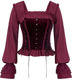 160bb29d3c SCARLET DARKNESS Women Gothic Victorian Long Sleeve Lace-up Tops Corset  Overbust Bustier