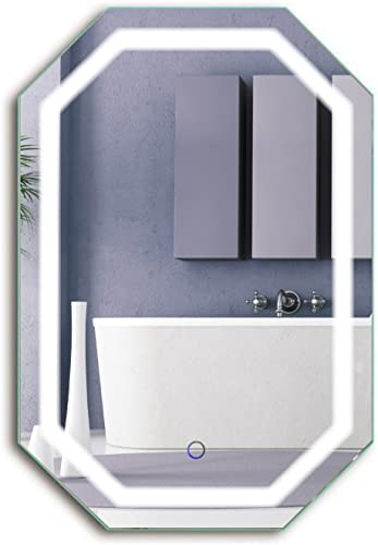 Krugg Octagon LED Bathrom Mirror 20 Inch X 30 Inch Lighted Wall Mount Vanity Mirror Includes Defogger Dimmer Vertical or Horizontal Install
