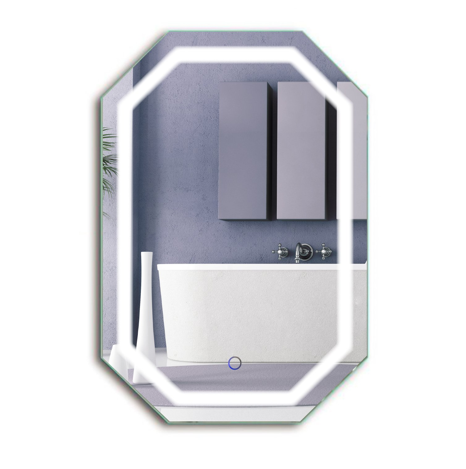 Octagon LED Bathrom Mirror 20 Inch X 30 Inch | Lighted Wall Mount Vanity Mirror includes Defogger & Dimmer | Vertical or Horizontal Install
