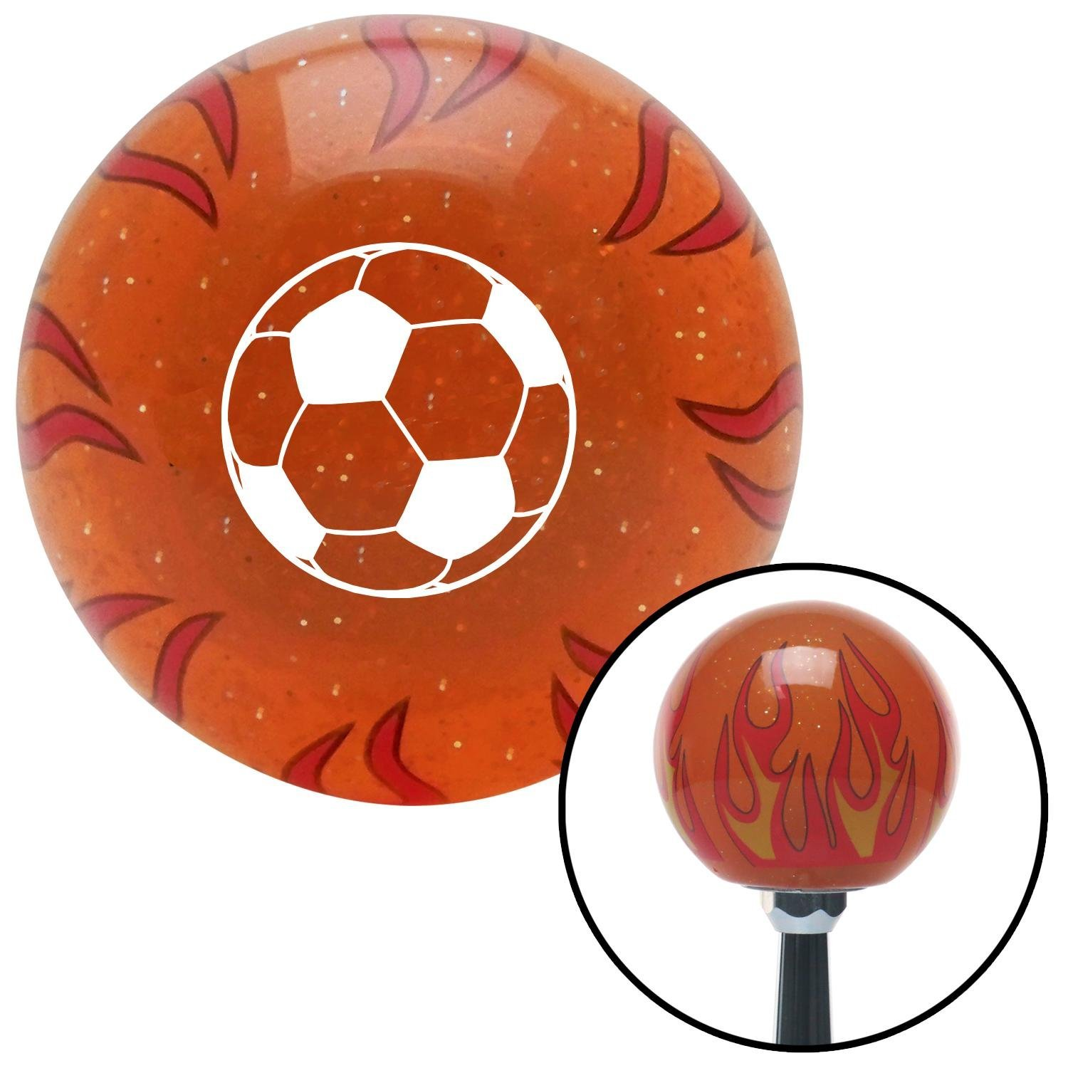 American Shifter 256050 Orange Flame Metal Flake Shift Knob with M16 x 1.5 Insert White Soccer Ball