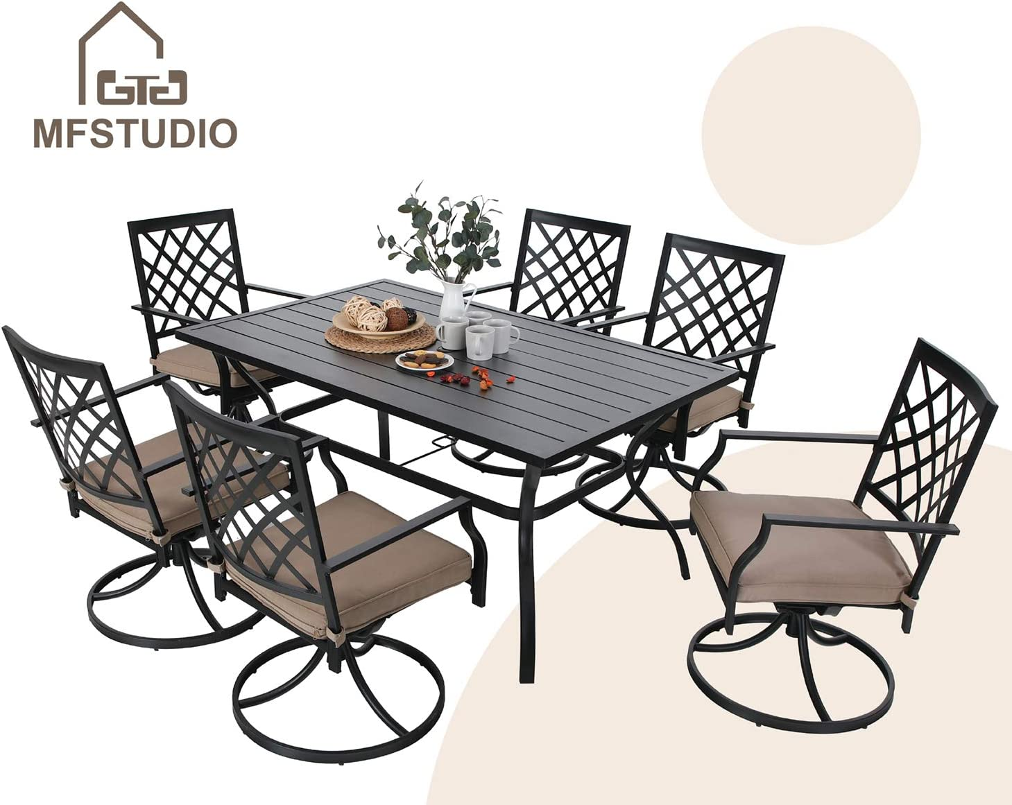MFSTUDIO 7-Piece Metal Outdoor Patio Dining Bistro Set with 6 Swivel Chairs