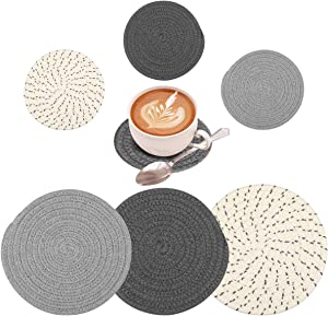 6 Pieces Pot Holders Set 2 Sizes, 7 Inches Trivets Set for Kitchens Hot Mats and 4.33 Inches Stylish Coasters, 100% Pure Cotton Thick Thread Weave Pot Holders, Cup Dishes Pads, for Cooking Hot Pot