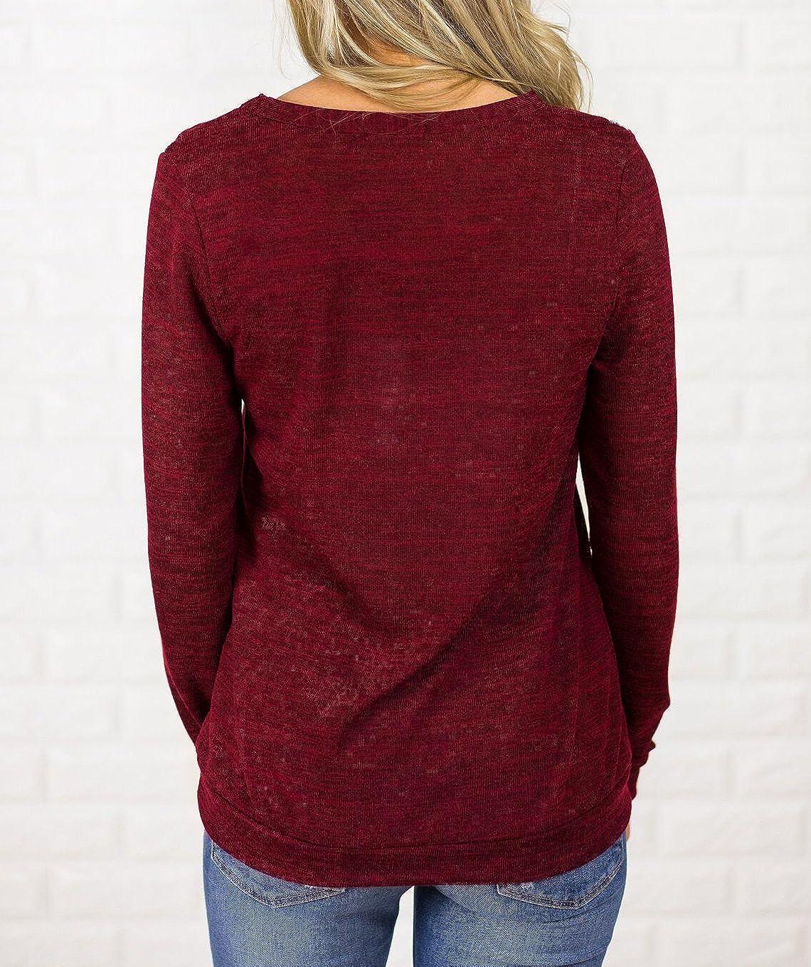 Pommaxe Damen Pullover Langarm Streifen Sweatshirt Herbst Oberteile Casual Strick