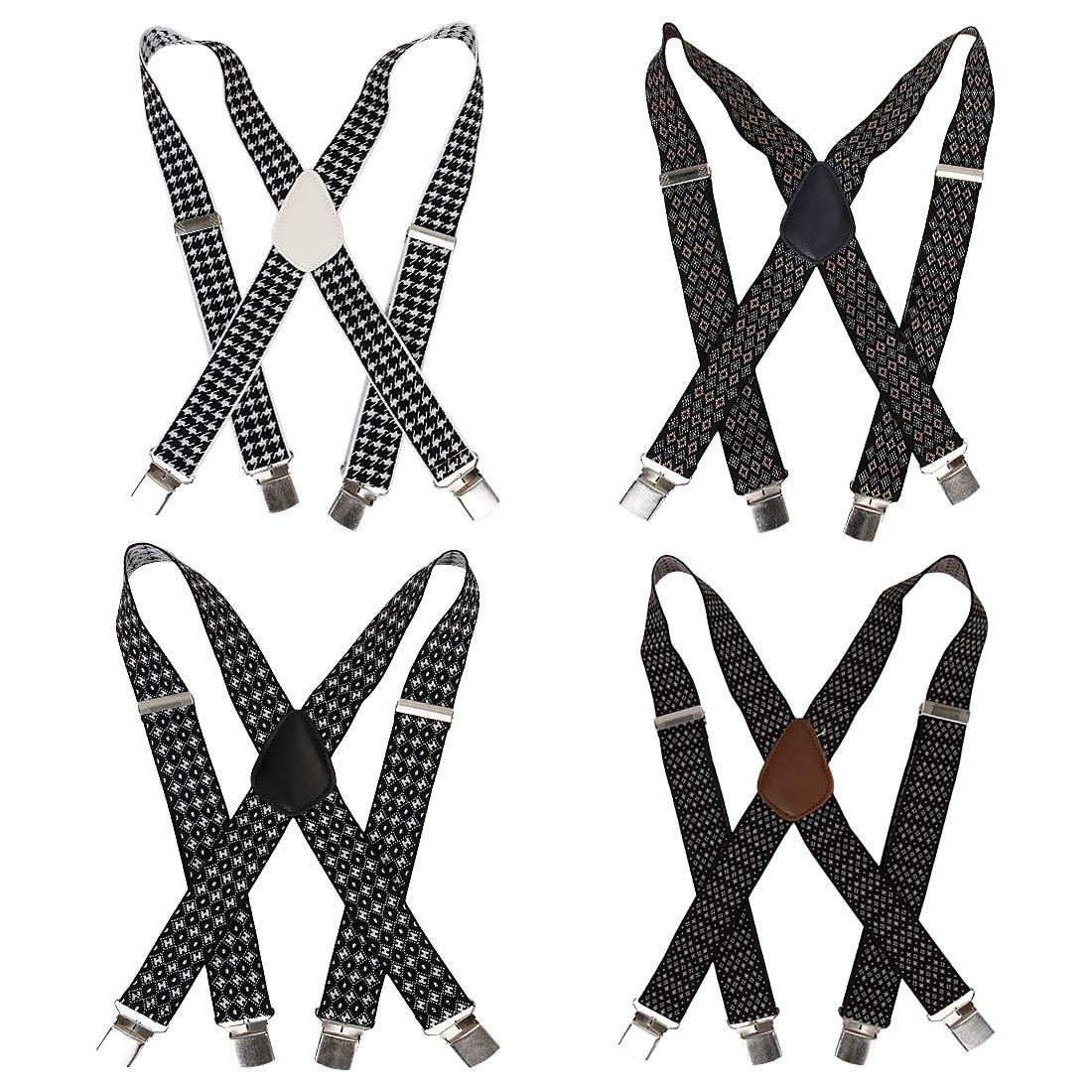Bundle Monster 4pc Jacquard Weave Design X-Back Adjustable Clip Unisex Suspender by Bundle Monster (Image #1)