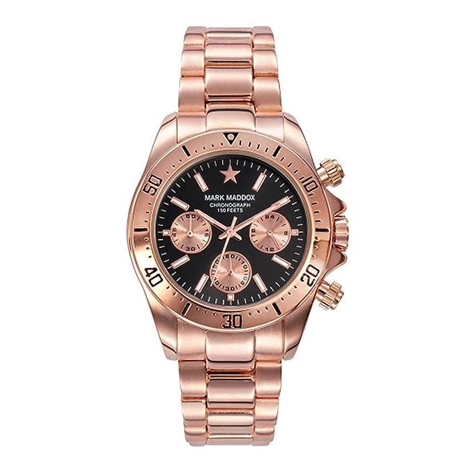 Mark Maddox HMCasual, Reloj de pulsera para hombre, color Negro/Oro Rosa: Amazon.es: Ropa y accesorios
