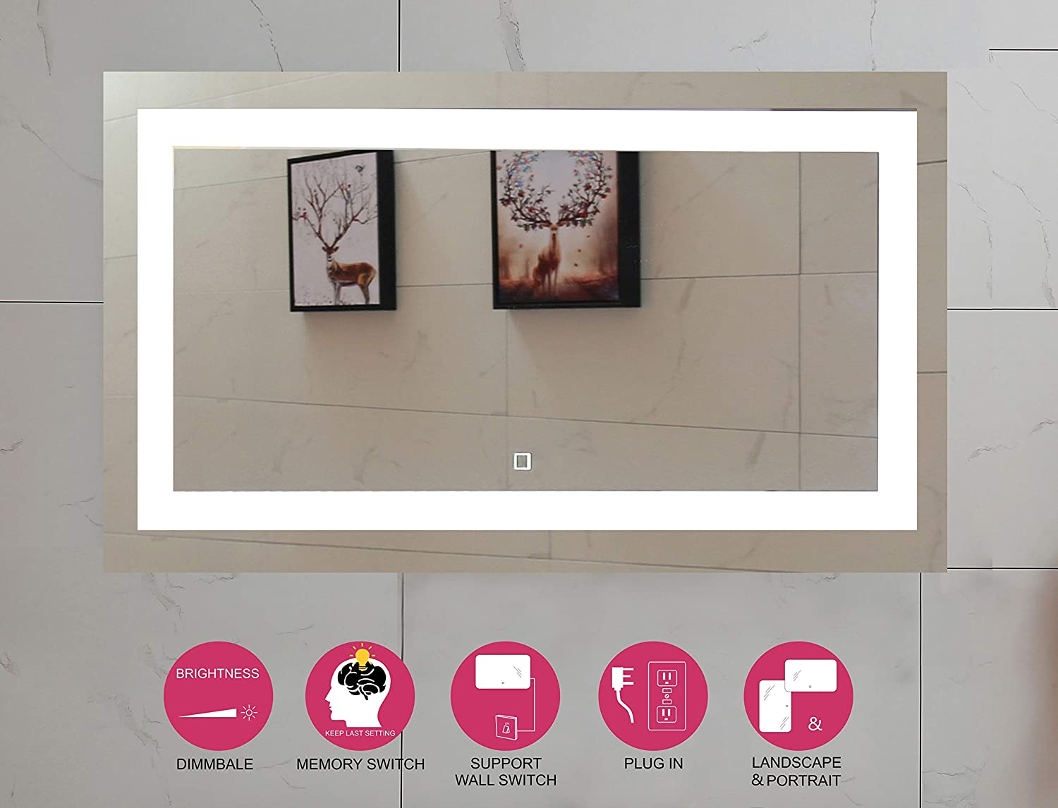 40X24 Inch LED Lighted Bathroom Mirror with Dimmable Touch Switch GS099D-4024N 40X24 inch New