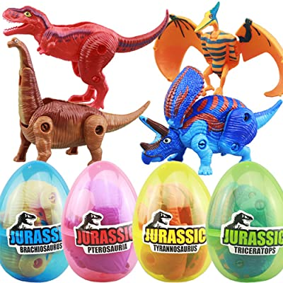 4 Pack Different Hatching Eggs Dinosaur Toys for 3+ Year Old Kids,Magic Egg that Hatch Dinosaurs Toy for Boy Girl Dino Fans,Deformation T-rex,Pterosaurs,Brachiosaurus,Triceratops(Random Color): Toys & Games [5Bkhe0305901]