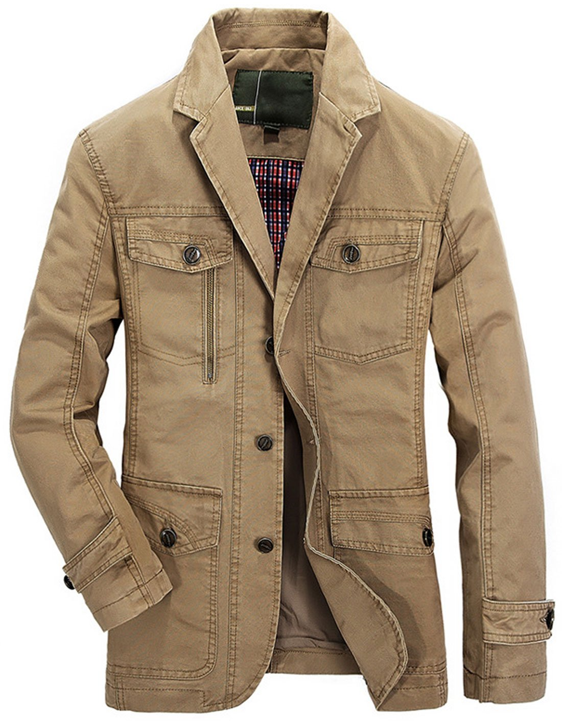 Chouyatou Men's Casual Notched Collar Multi Pockets 3 Buttons Lightweight Blazer Jackets (Large, Khaki) by Chouyatou