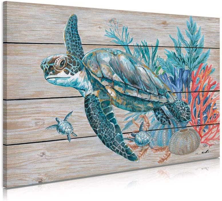 Teal Bathroom Decor Wall Art, Beach Turtle Swim Under the Ocean with Coral and Turquoise Seagrass on Rustic Wood Panel Background Sea Turtle Gifts for Women 16