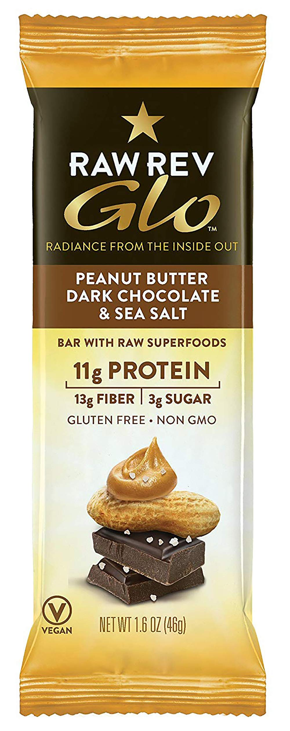 Raw Rev Glo Vegan, Gluten-Free Protein Bars – Peanut Butter Dark Chocolate 1.6 ounce (Pack of 144)